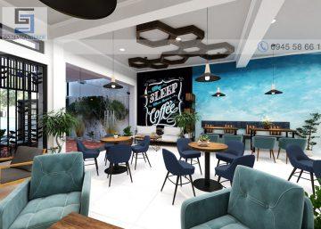 """""""Đẹp quên lối về"""" với thiết kế quán cafe Hung Sang coffee tông màu trắng - xanh lạ mắt 3"""