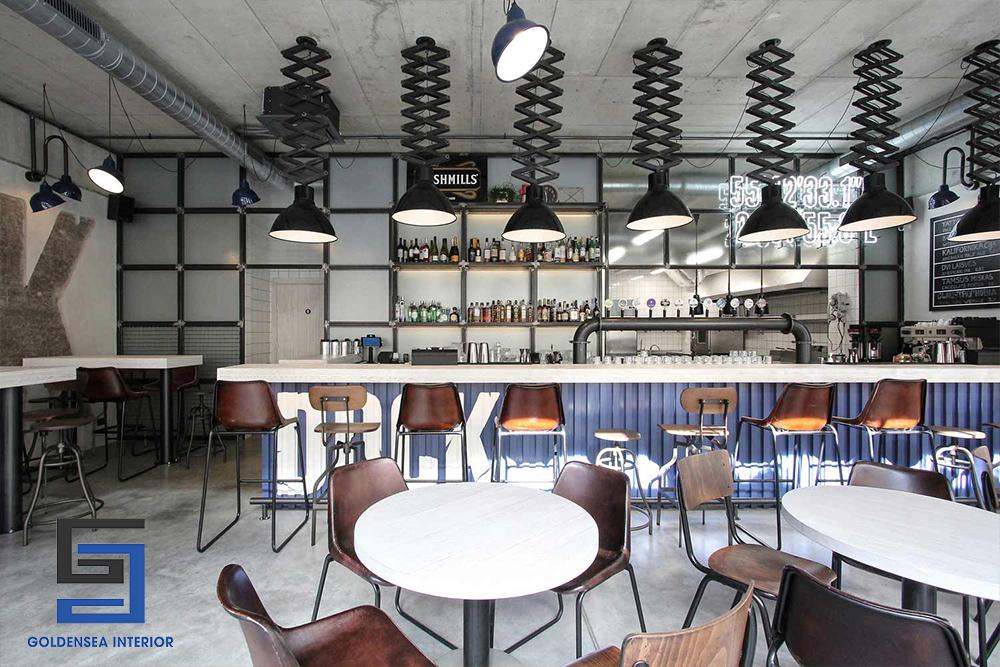 Phong cách Industrial mạnh mẽ trong thiết kế nội thất quán cafe 6