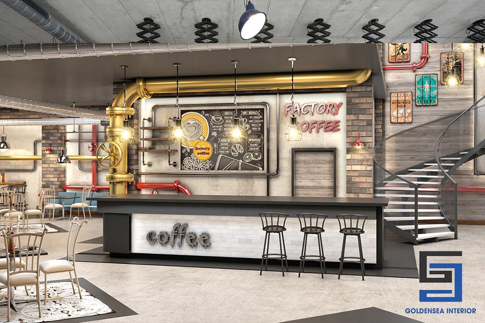 Phong cách Industrial mạnh mẽ trong thiết kế nội thất quán cafe 5